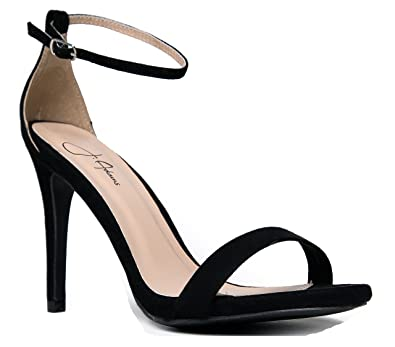 fc0f99104a70 Image Unavailable. Image not available for. Color  Qupid Grammy-01 High Heel  Skinny Ankle Strap Sandal Flats Black