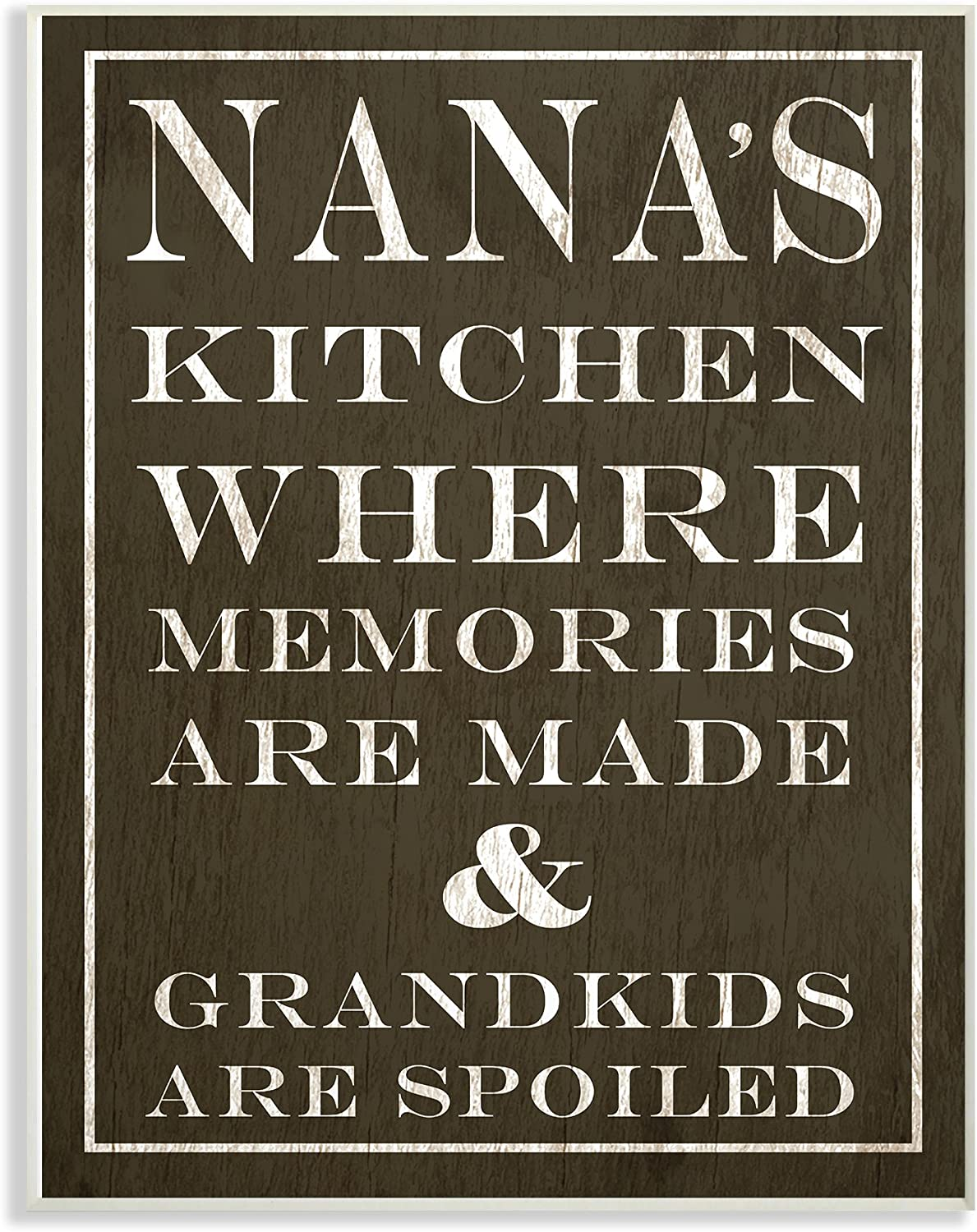 Stupell Industries Nanas Kitchen and Spoiled Grandkids Dark Oversized Wall Plaque Art, 12.5 x 0.5 x 18.5, Multi-Color