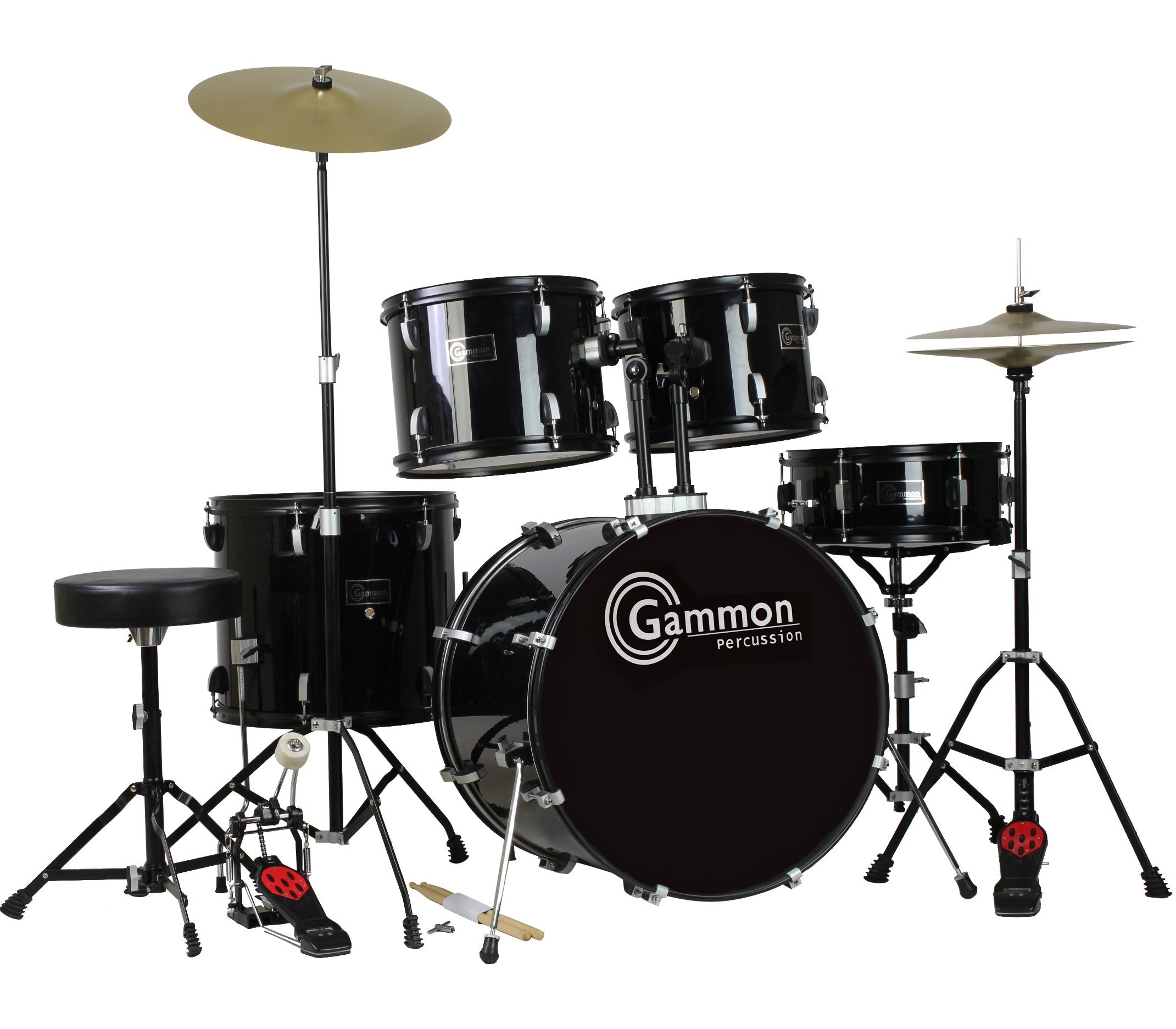 Gammon Percussion Full Size Complete Adult 5 Piece Drum Set with Cymbals Stands Stool and Sticks, Black by Gammon Percussion (Image #9)