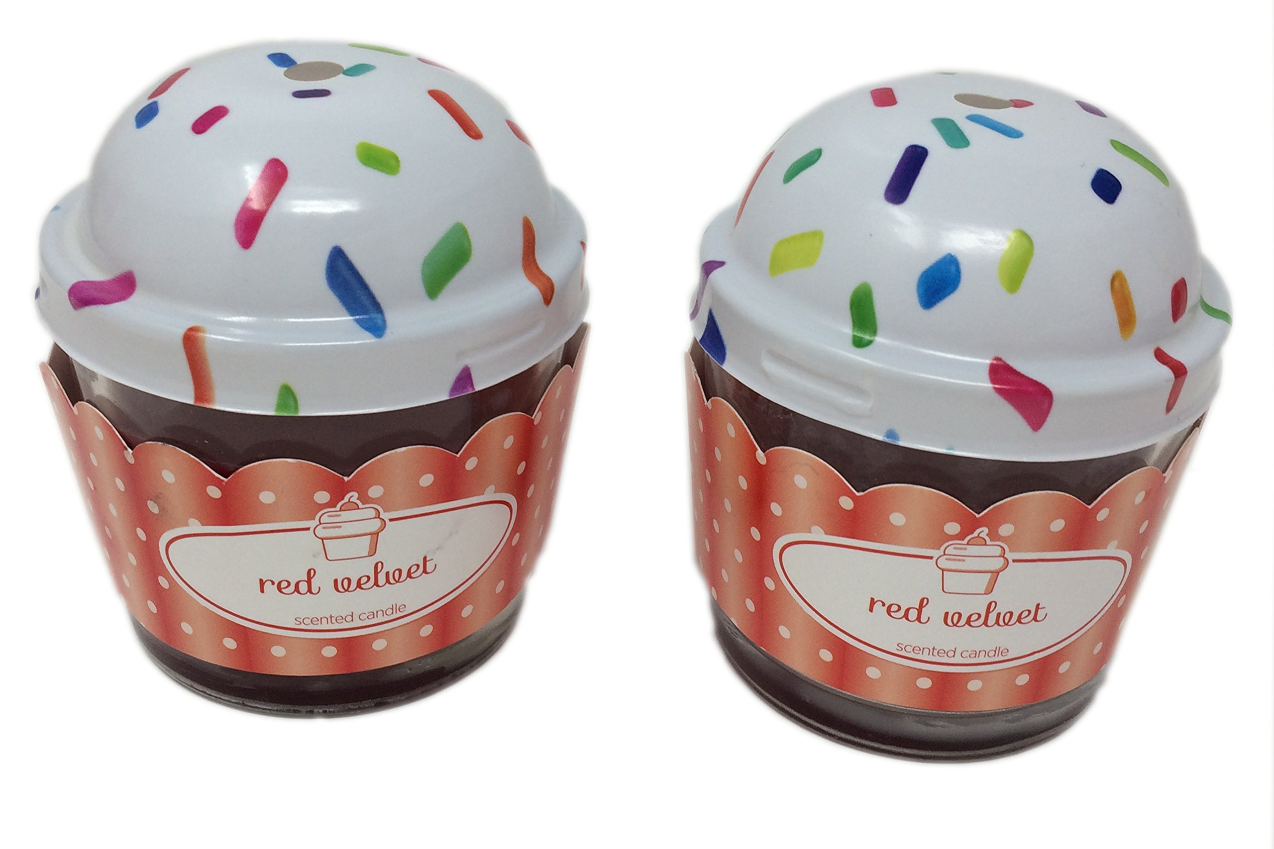 Cute Novelty Cupcake Scented Candles with Lids, Set of 2 Glass, 3'' Jars (Red Velvet)