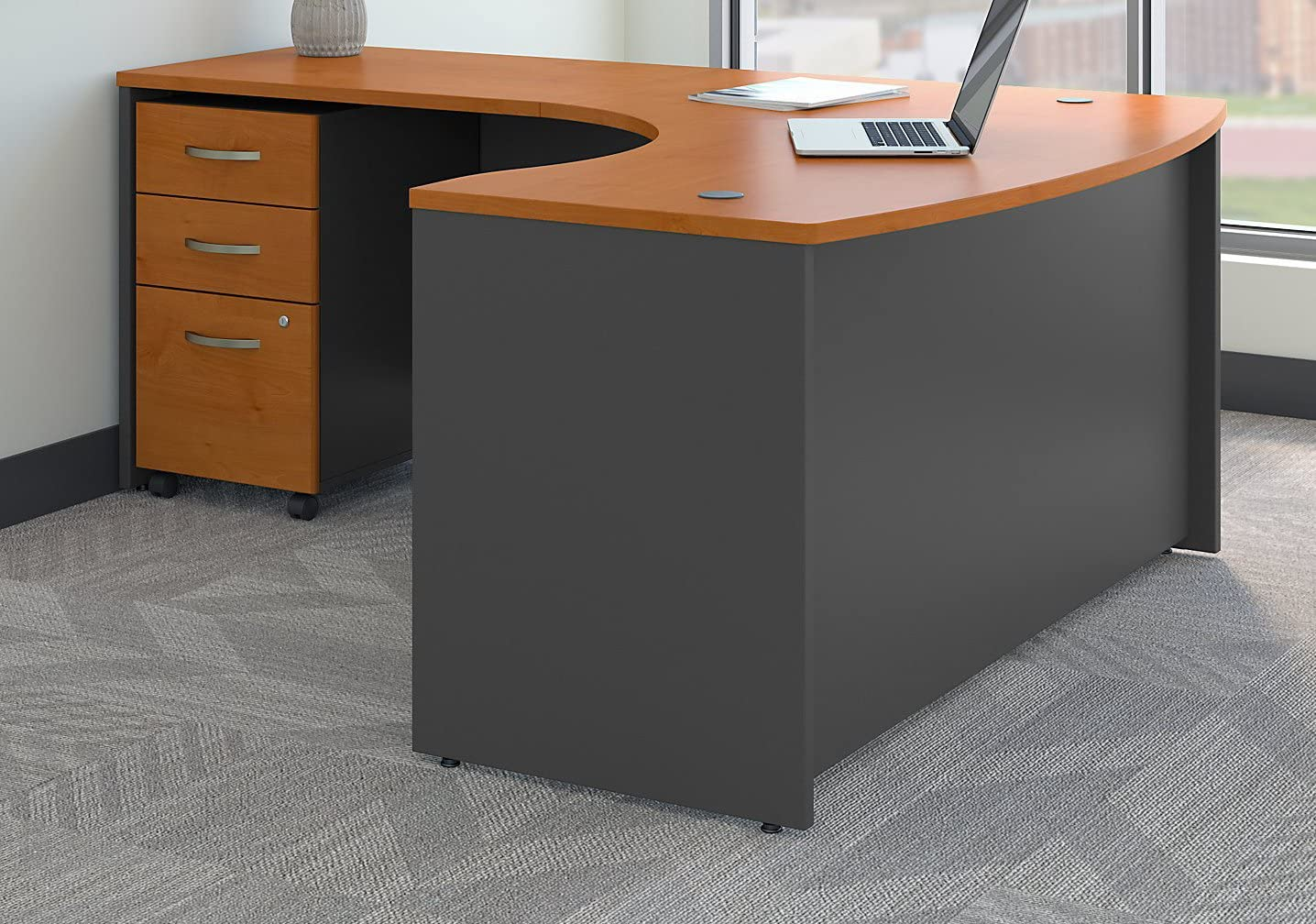 Bush Business Furniture Series C Left Handed L Shaped Desk With Mobile File Cabinet In Natural Cherry Furniture Decor