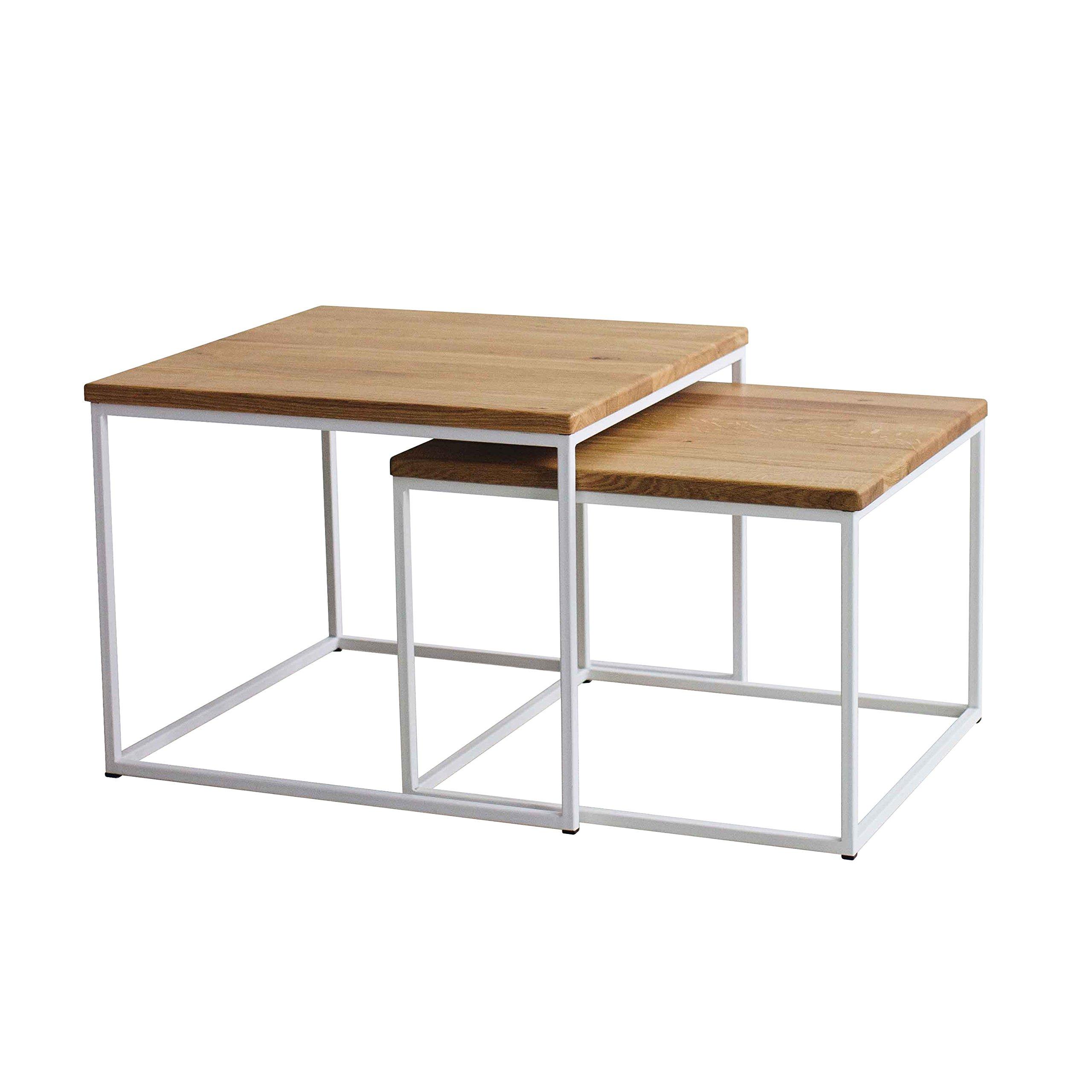 Original BestLoft®2er Set Couchtisch (MWH) Eiche Metall Beistelltisch  Industiedesign Loft Vintage Sofatisch Massiv Holz (Eiche Natur + Gestell In  Weiß)