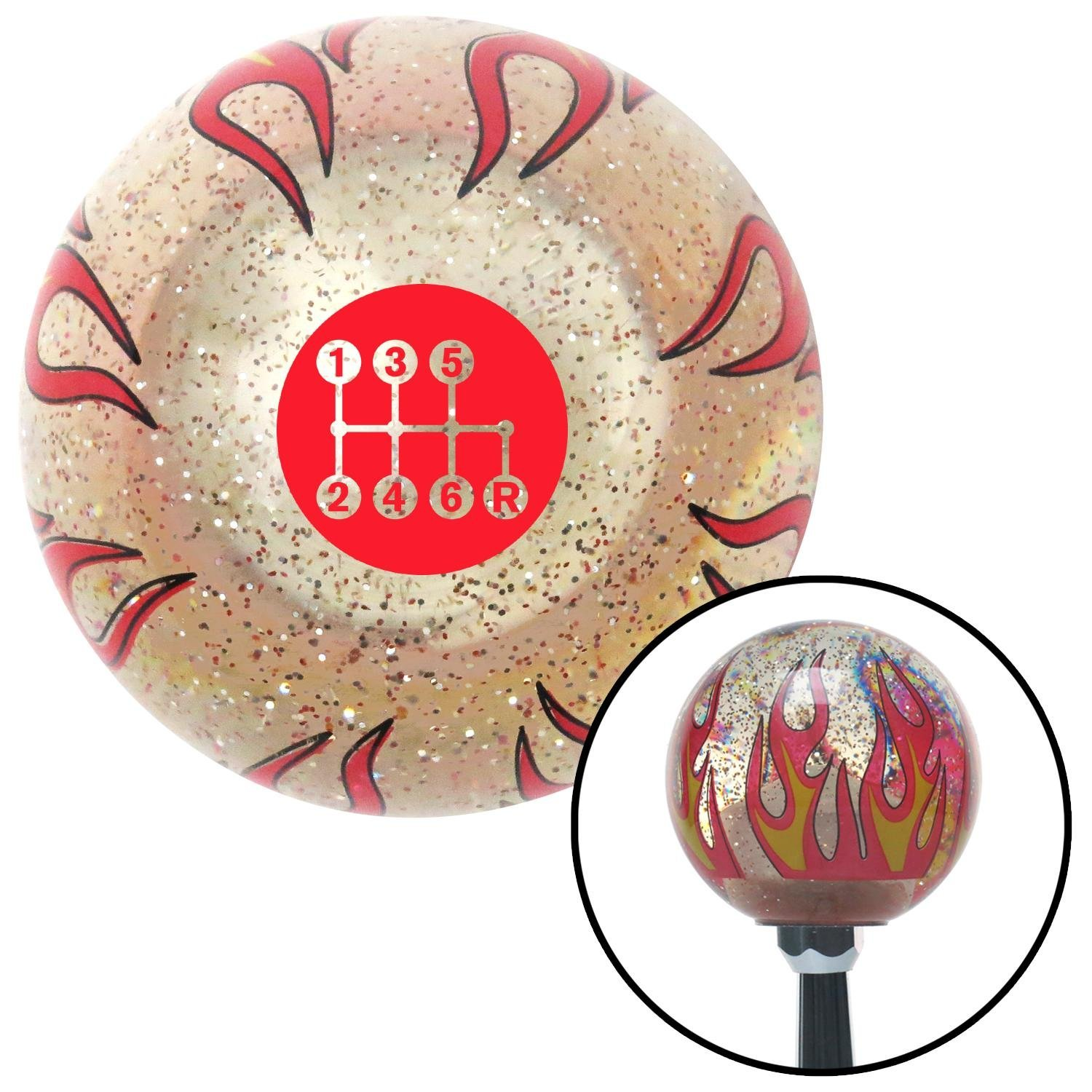 Red 6 Speed Shift Pattern - Dots 41 Clear Flame Metal Flake with M16 x 1.5 Insert American Shifter 296010 Shift Knob