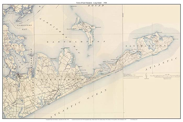 Topographic Map Long Island.Amazon Com East Hampton 1904 Topo Map Long Island New York Old