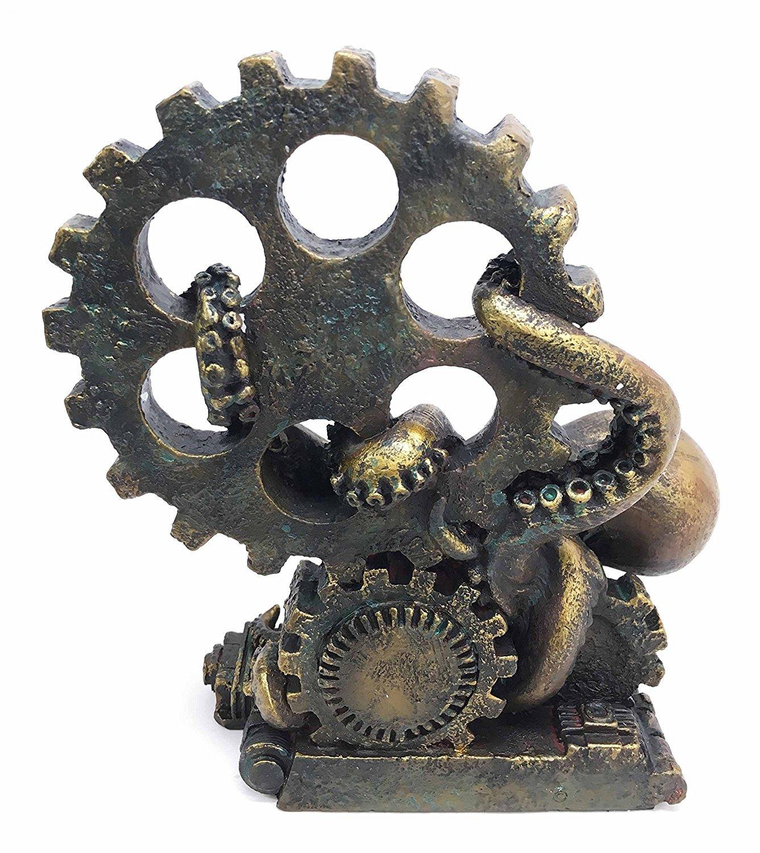 Ebros Nautical Steampunk Octopus Statue 7.25 Tall Giant Deep Sea Octopus Kraken Destroying Ship Engine Gears Figurine