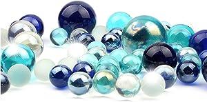 Li Decor Glass Vase Fillers Marbles for Vase Mixed Blue 1.3 Pounds Bottle