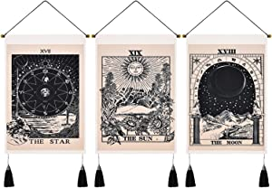 Uspring Pack of 3 Tarot Tapestry The Sun The Moon The Star Tapestry Tarot Card Tapestry Medieval Europe Divination Tapestry Mysterious Tapestries for Room (Black White, 13.8 x 19.7 inches)