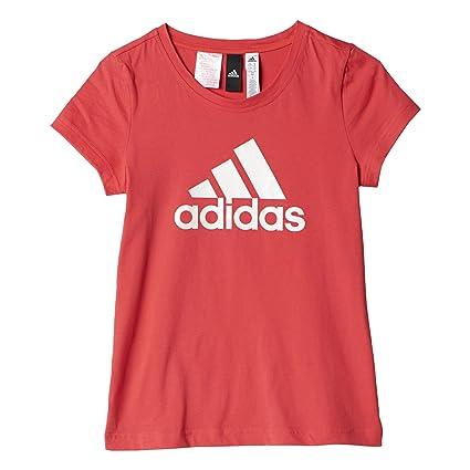 Adidas Yg Logo tee Camiseta, Niñas, Rosa (Rosbas/Blanco), 116