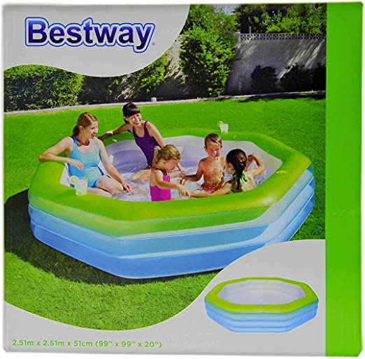 Piscina Hinchable octogonal cm.251 x 251 x H51: Amazon.es: Hogar