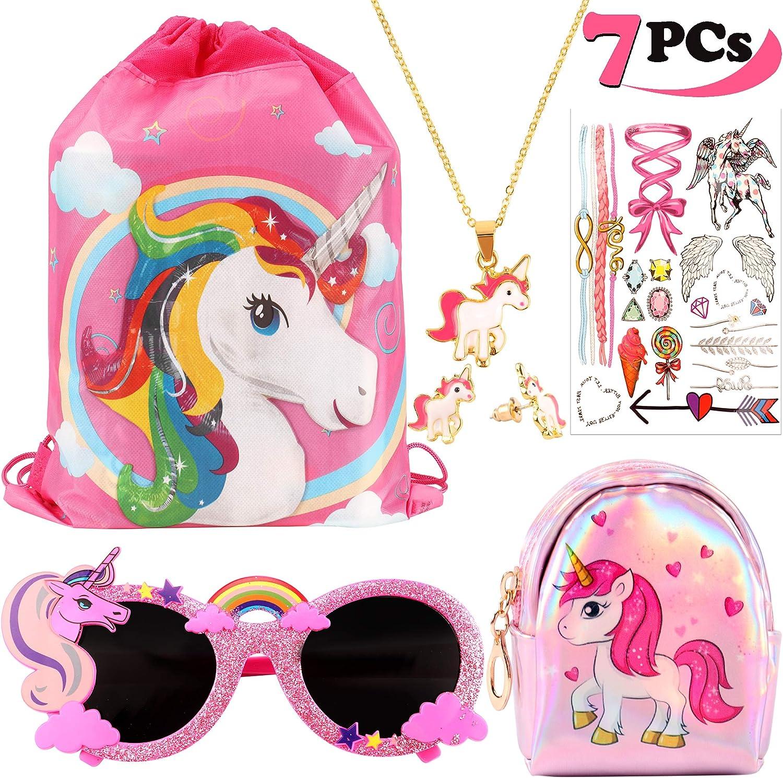 vamei Unicornios Mochila con cordón Goodie Bags Unicorn Glasses Collar de Cadena de aleación Earring Purse Wallet Stickers Favores de Regalo de Fiesta Unicornios para niñas 7 Paquete