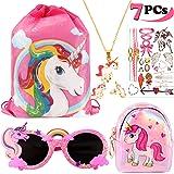 VAMEI 7Pack Unicorn Party Bomboniere per Bambini Unicorno Coulisse Regalo Borse Goodie Unicorno Occhiali Collana orecchino Borsa Wallet Stickers