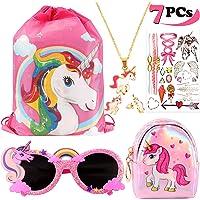 vamei Unicornios para Niñas Unicornios Mochila con cordón Goodie Bags Unicornios Collar Glasses Earring Purse Wallet…