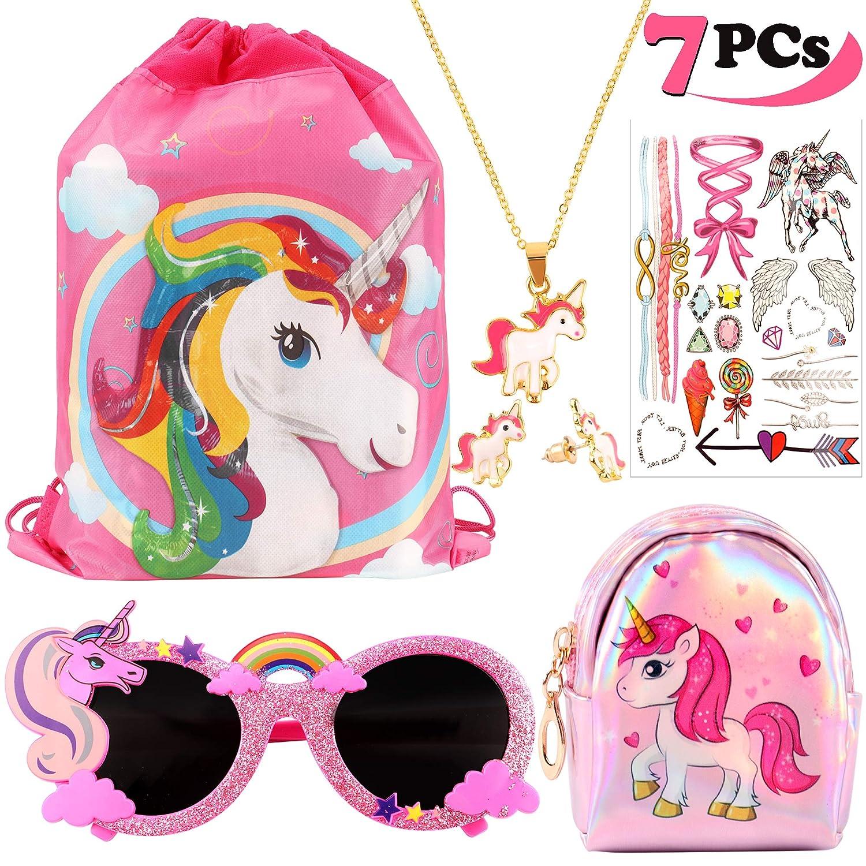 VAMEI 7Pack Unicorn Party Gift Favors para Niños Unicornio Drawstring Gift Goodie Bags Unicorn Glasses Necklace Earring Purse Wallet Stickers DJSPD7PCS