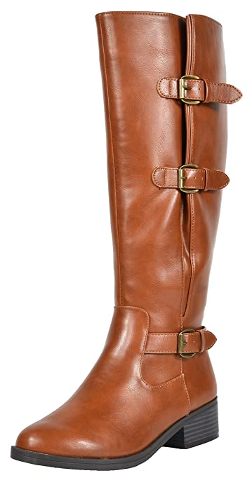 d5d3ad31d5e86 TOETOS Women's Mirran Tan Knee High Riding Boots Wide Calf Size 11 M ...
