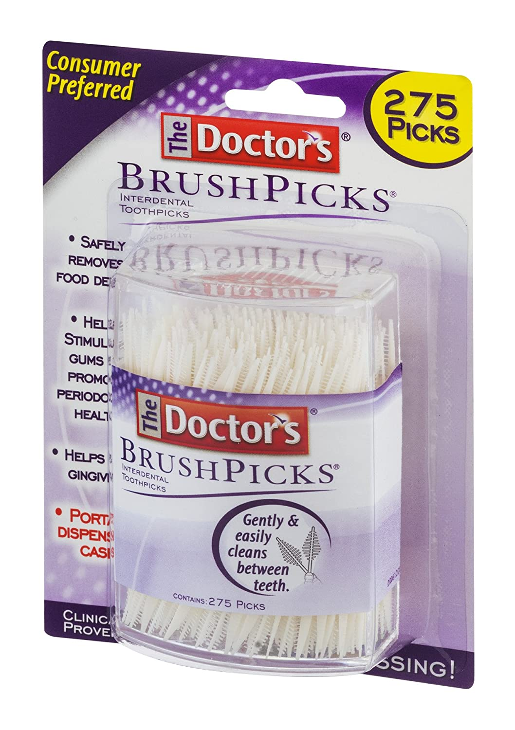 The Doctor BrushPicks Interdental Toothpicks Helps Fight Gingivitis 275 Count Pack of 4