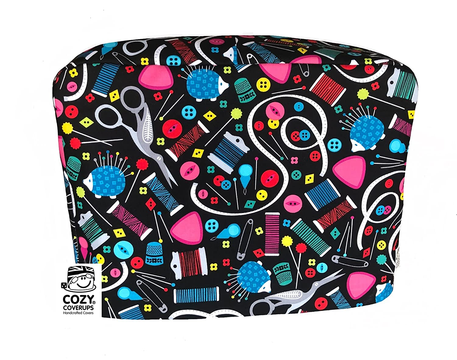 CozyCoverUps Handmade Sewing Machine Dust Cover in Modern Haberdashery CoolCozy Covers