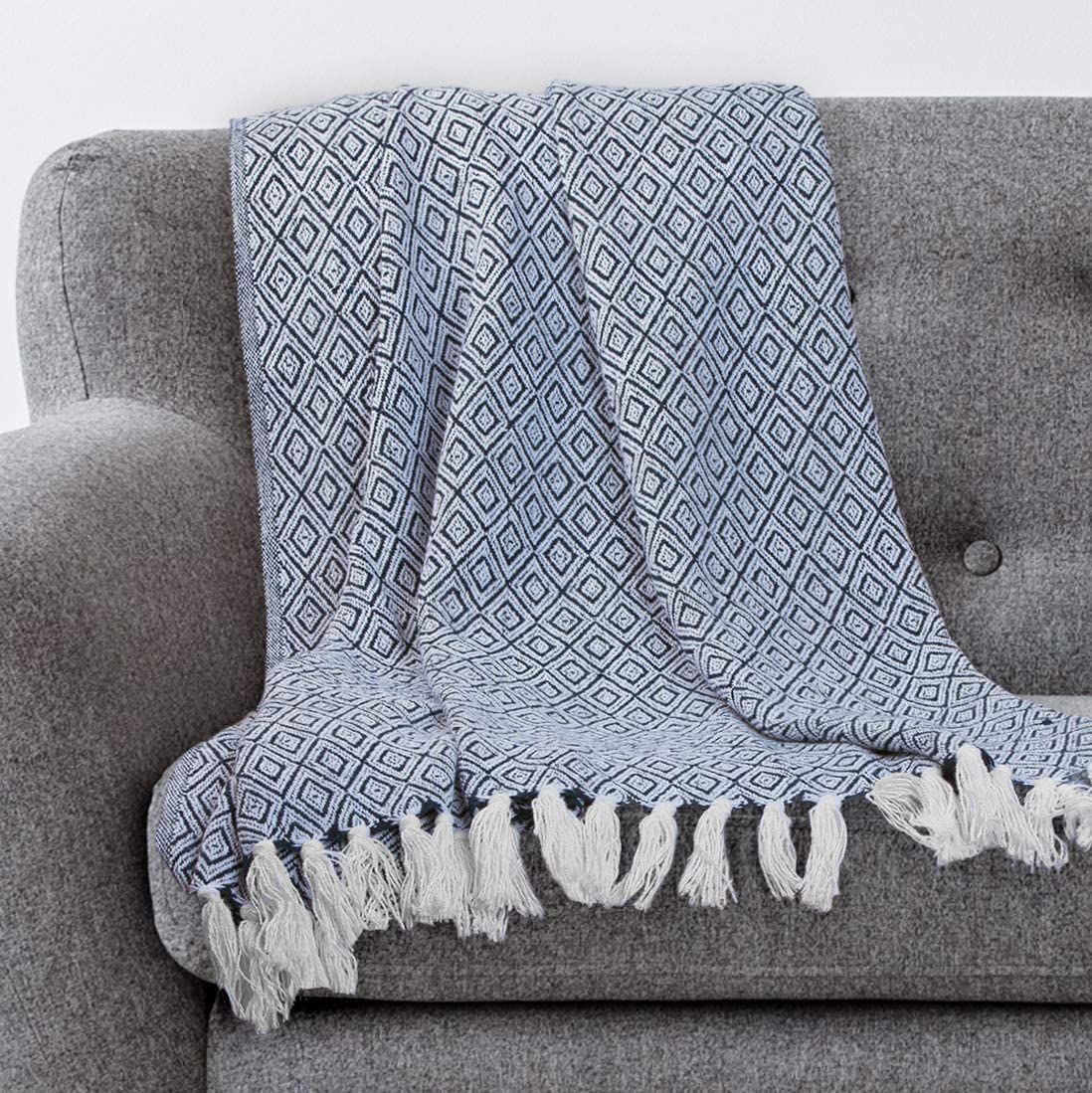 Americanflat Omala Throw Blanket in Navy and White