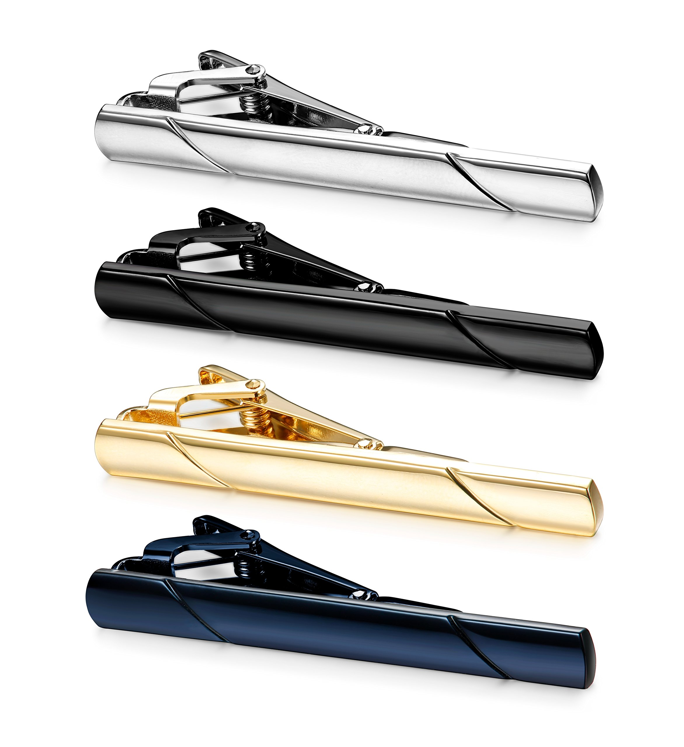 Jstyle 4 Pcs Tie Clips for Men Tie Bar Clip Set for Regular Ties Necktie Wedding Business Clips by Jstyle (Image #2)