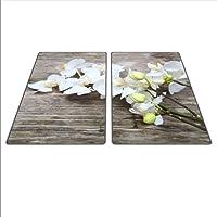 Universel Lot de deux planches pour protéger Réchaud: Verre, céramique, Induction et gaz, chaque Tableau dispose de 4pieds en silicone qui protège contre les rayures, saturation des couleurs profondes grâce au carte graphique HD, dimensions: 2x 30x 52cm, Thème: Fleur, couleur: blanc