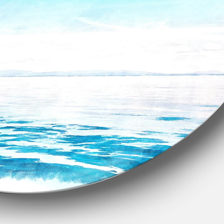 White Disc of 38 38x38-Disc of 38 inch Designart Blue Horizon Digital Watercolor Seascape Round Wall Art
