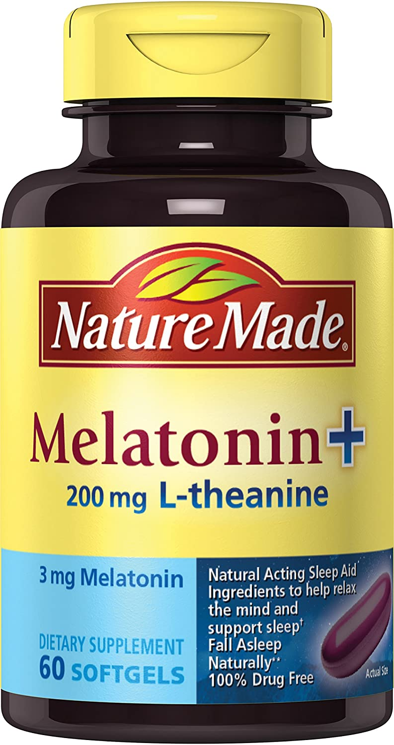 Amazon.com: Nature Made Melatonin Plus Supplement with 200 mg L-Theanine, 60 Count: Prime Pantry