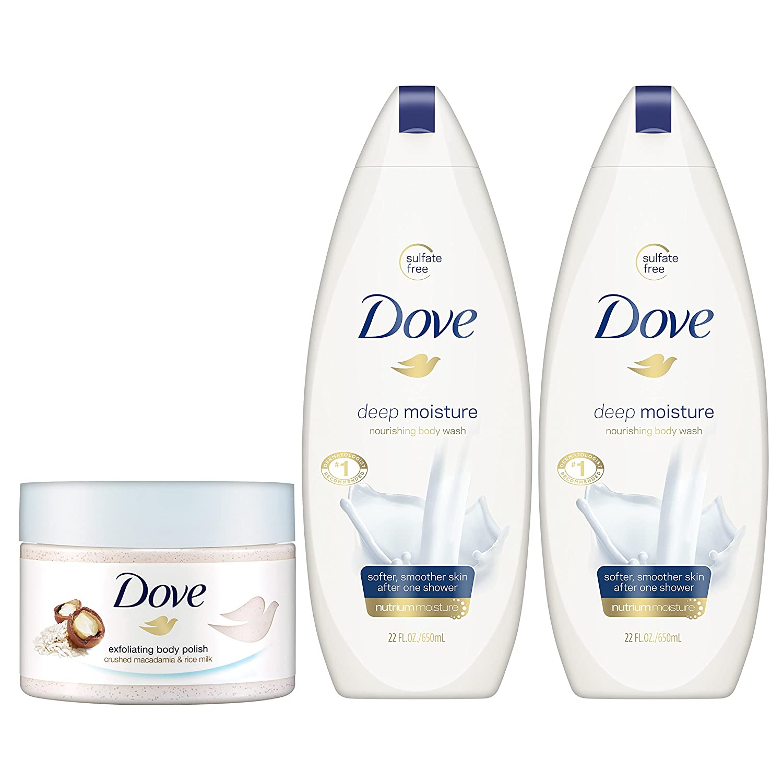 Amazon Com Dove Body Wash And Body Polish Exfoliate And Deep Moisture 3 Count Beauty