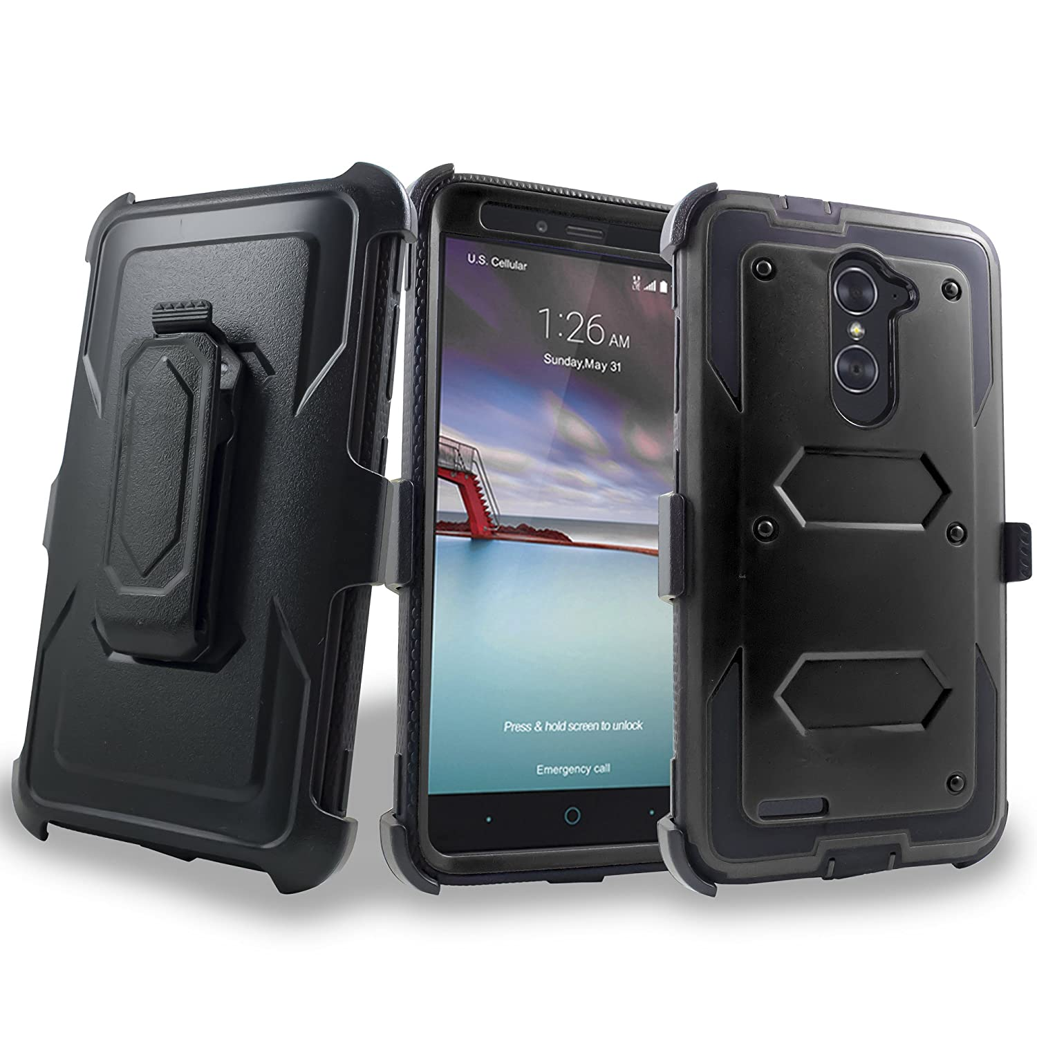 ZTE N9560 Case, Mstechcorp For ZTE [Max XL] (Virgin Mobile, Boost Mobile)  w/ [Built-in Screen Protector] Heavy Duty Full-Body Rugged Holster Armor
