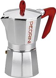 Pedrini 908460 Caffettiera, Kaffettiera, 6 tazze, argento e rosso