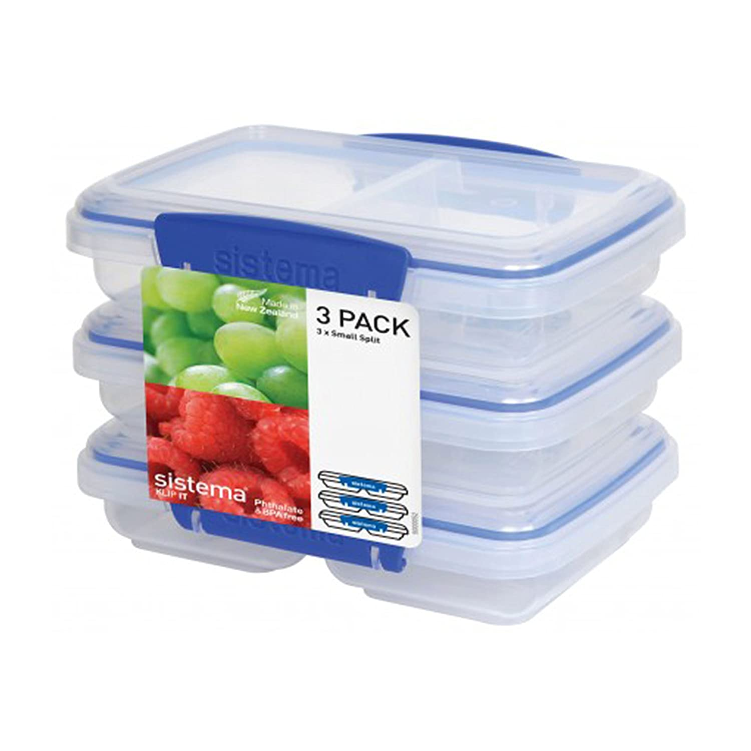 Sistema KLIP IT Rectangular Collection Split Food Storage Container, Small, 11.8 oz./0.3 L, Clear/Blue, 3 Count