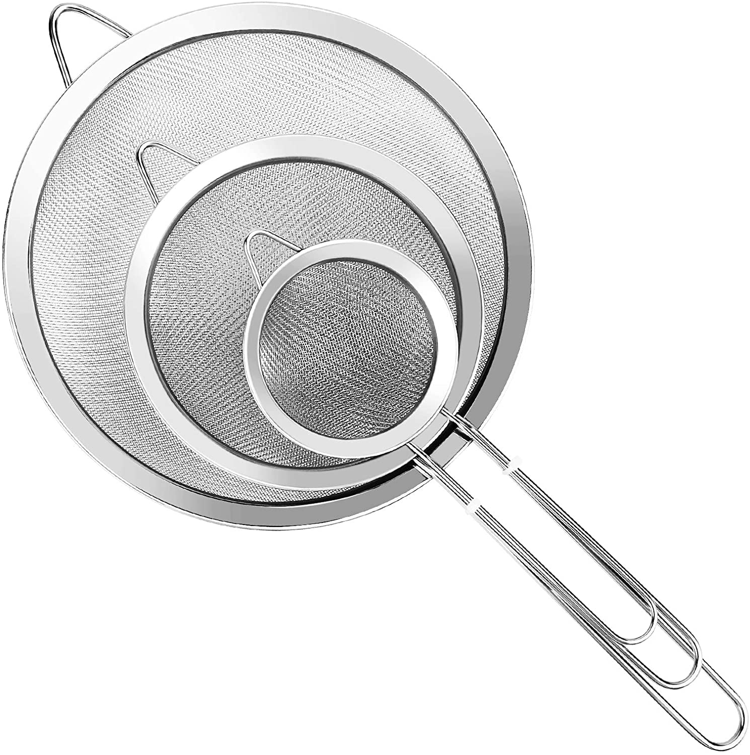 YLYL 3 Pcs Super Wire Extra Fine Mesh Strainer with Handle, Small Medium Large Size Sifter Metal Strainer Set, Stainless Steel Sieve Fine Mesh Strainers for Kitchen Rice Juice Quinoa Food Flour Baking