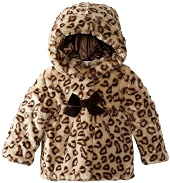 Amazon Com Pacific Trail Kids Baby Girls Faux Fur Leopard Hooded