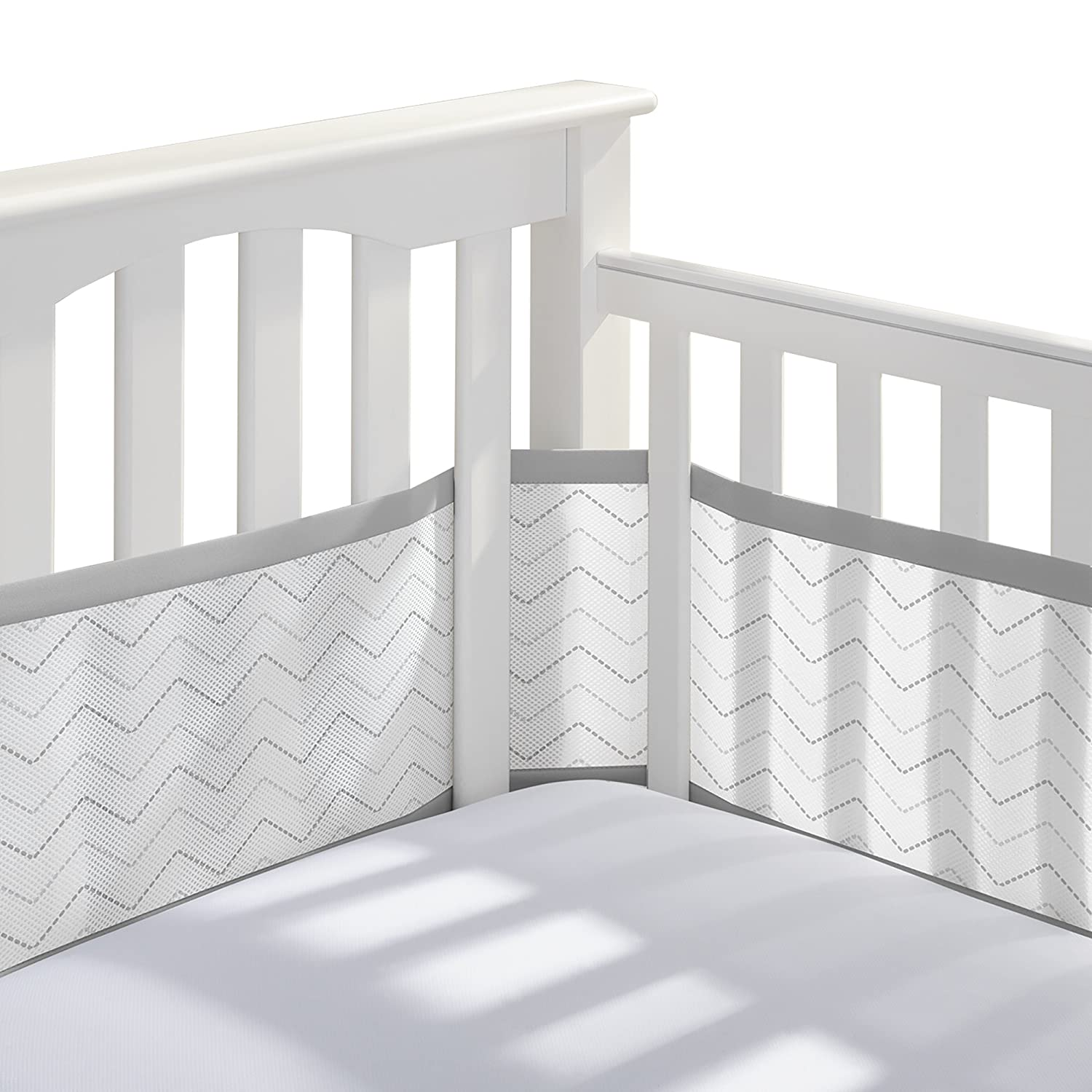 Chevron Porta Crib Bumper Black Color