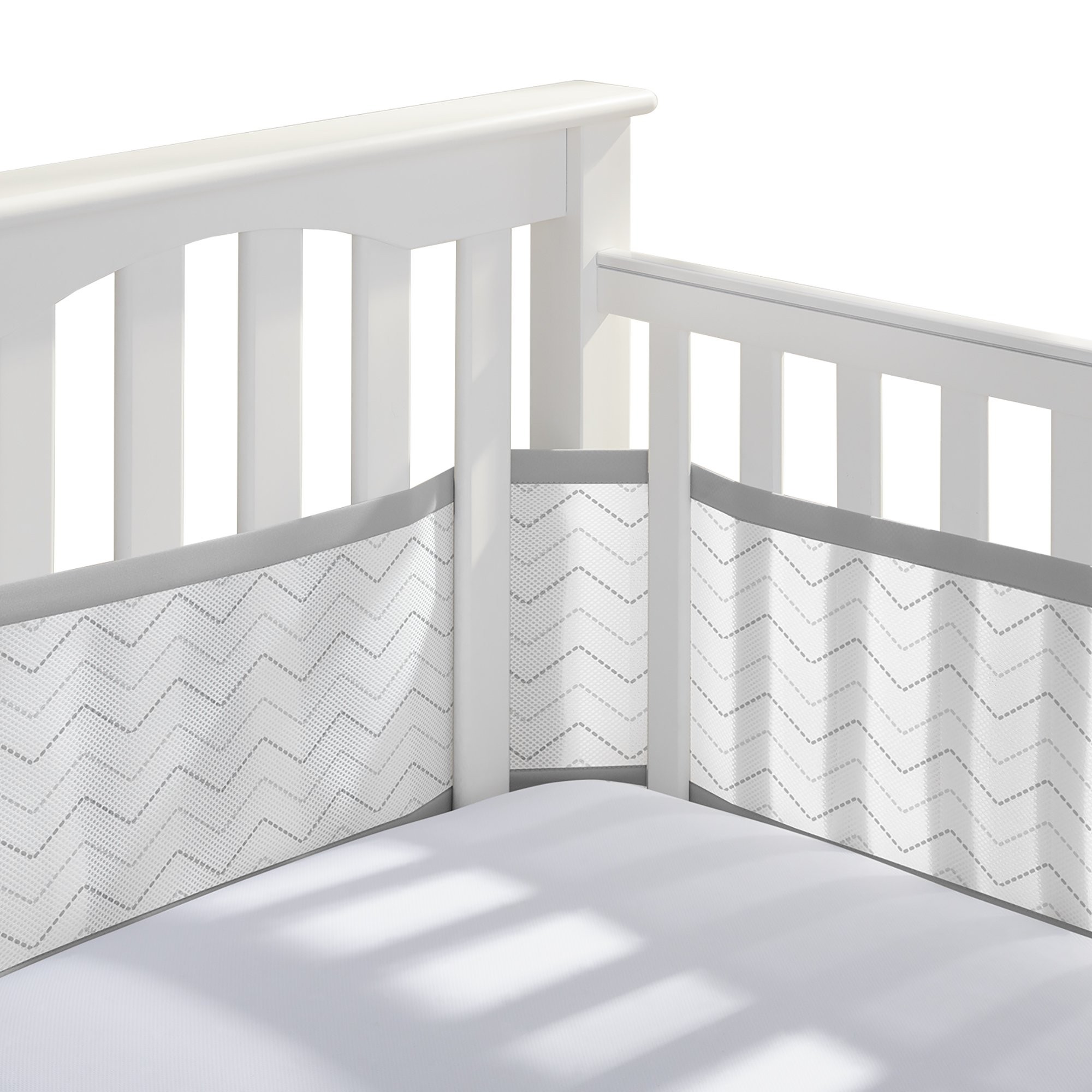 BreathableBaby | Breathable Mesh Printed Crib Liner | Doctor Endorsed | Helps Prevent Arms and Legs from Getting Stuck Between Crib Slats | Independently Tested for Safety | Gray Chevron
