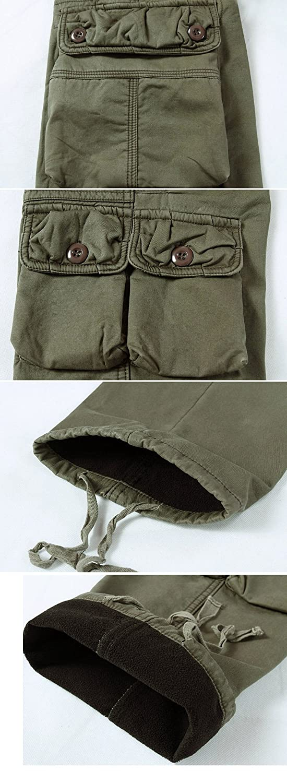 9d48b1cd2f41 Sunshey Herren Thermohose Thermo-Cargohose Arbeitshose Fleece gefüttert  warm Innen aus Baumwolle mit mehere Taschen Loose Fit in schwarz grün  Khaki  ...