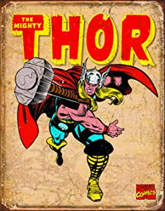 "Desperate Enterprises Marvel Comics Thor Retro Tin Sign, 12.5"" W x 16"" H"