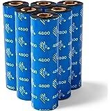 Zebra Standard Black Wax Ribbon for Industrial Thermal Transfer Printers 4.33 in Wide 1476 ft Long 1 in Core 6 Rolls 10031729