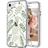 ICEDIO iPhone SE 2020 Case,iPhone 8 Case,iPhone 7 Case with Screen Protector,Clear TPU Cover with Green Leaves Floral Flower