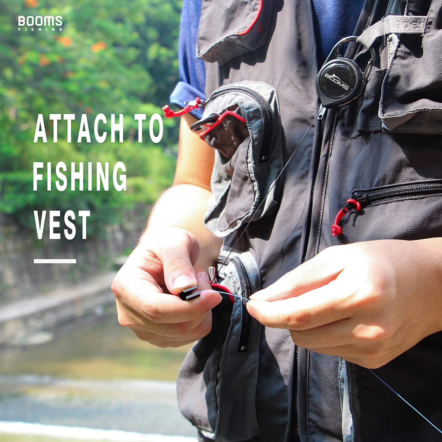 Booms Fishing FC2 Fly Fishing Quick Knot Tying Tool Fishing Line Clippers with Zinger Retractor,Mutilfunctional Nipper Tool Cutting Mono and Line,Built-in Knot Tyer and Fly Eye Clearing Needle