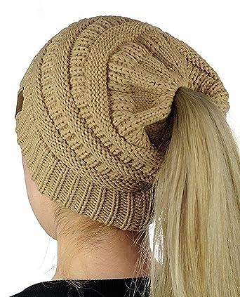 Bonnet Hiver Femme en Tricot avec Trou pour Queue de Cheval Beanie Hat  Multicolore(Khaki) Amazon.fr Vêtements et accessoires