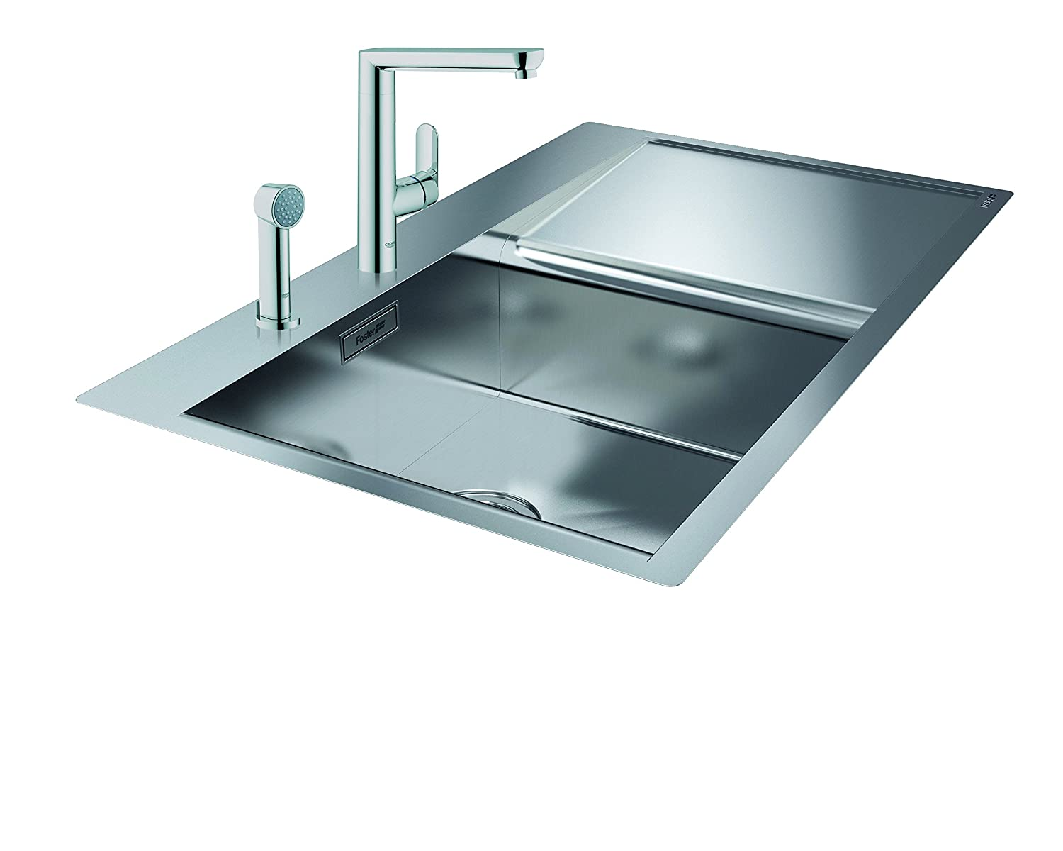 GROHE 122494 K7 Wide Spray Kitchen Tap and Foster New Wave Sink Bowl ...