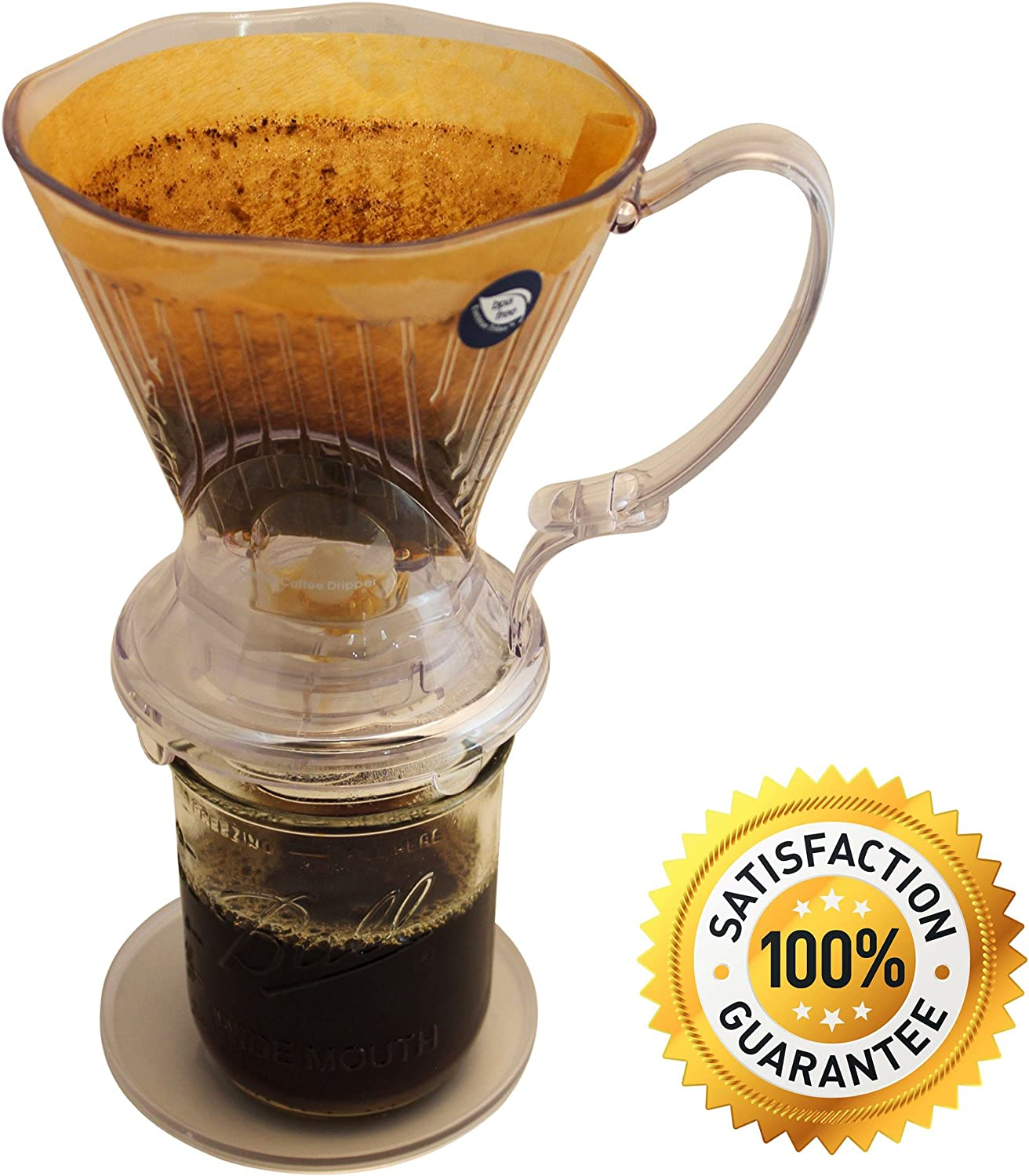 Clever Coffee Dripper by CoastLine   Large – 18 Ounces   Safe BPA Free Plastic   Reusable for Travel or Home Use   Perfect for Pour Over Coffee & Cold Brew   Hand Drip Brewer