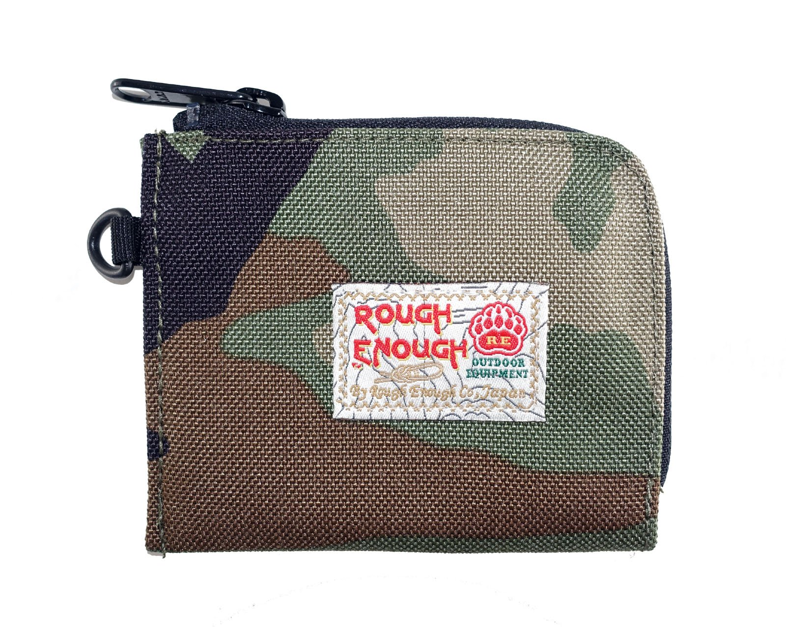 Rough Enough CORDURA Polyester Small Mini Bascis Stylish Portable Clutch Square Pocket Pouch Purse Case Bag Wallet Holder Organizer with zipper for Coins Cards Suits Boys Kids Students Men Camo