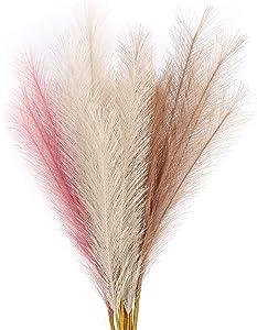 "6 PCS Artificial Pampas Grass,27"" Faux Reed Plumes for Home Wedding Decor Vase Fillings and Flower Arrangement"