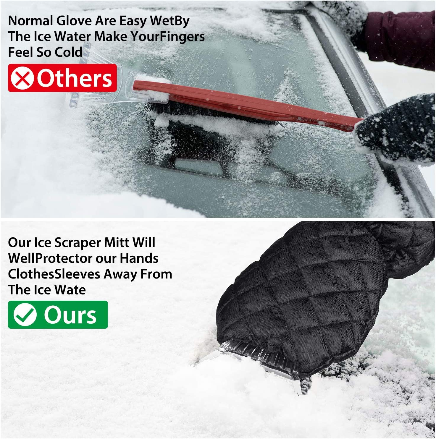 2 Packs Ice Scraper Mitt Car Windshield Snow Scrapers Ice Brushes Glove with Thick Fleece Lining Snow Remover for Car Window and Windshield