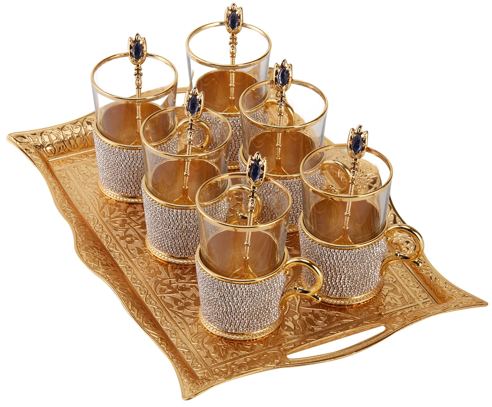 (Set of 6) XL Turkish Tea Glasses Set with Holders Spoons & TRAY, Decorated with Swarovski Type Crystals and Pearls