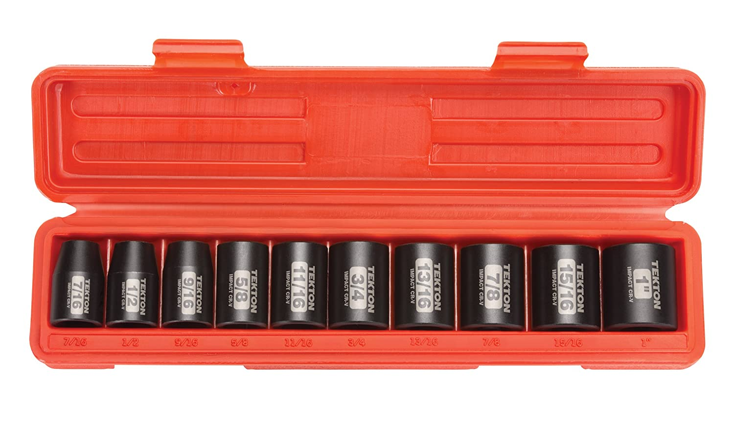 TEKTON 4815 1/2-Inch Drive Shallow Impact Socket Set, Metric, Cr-V, 6-Point, 11 mm - 24 mm, 10-Sockets