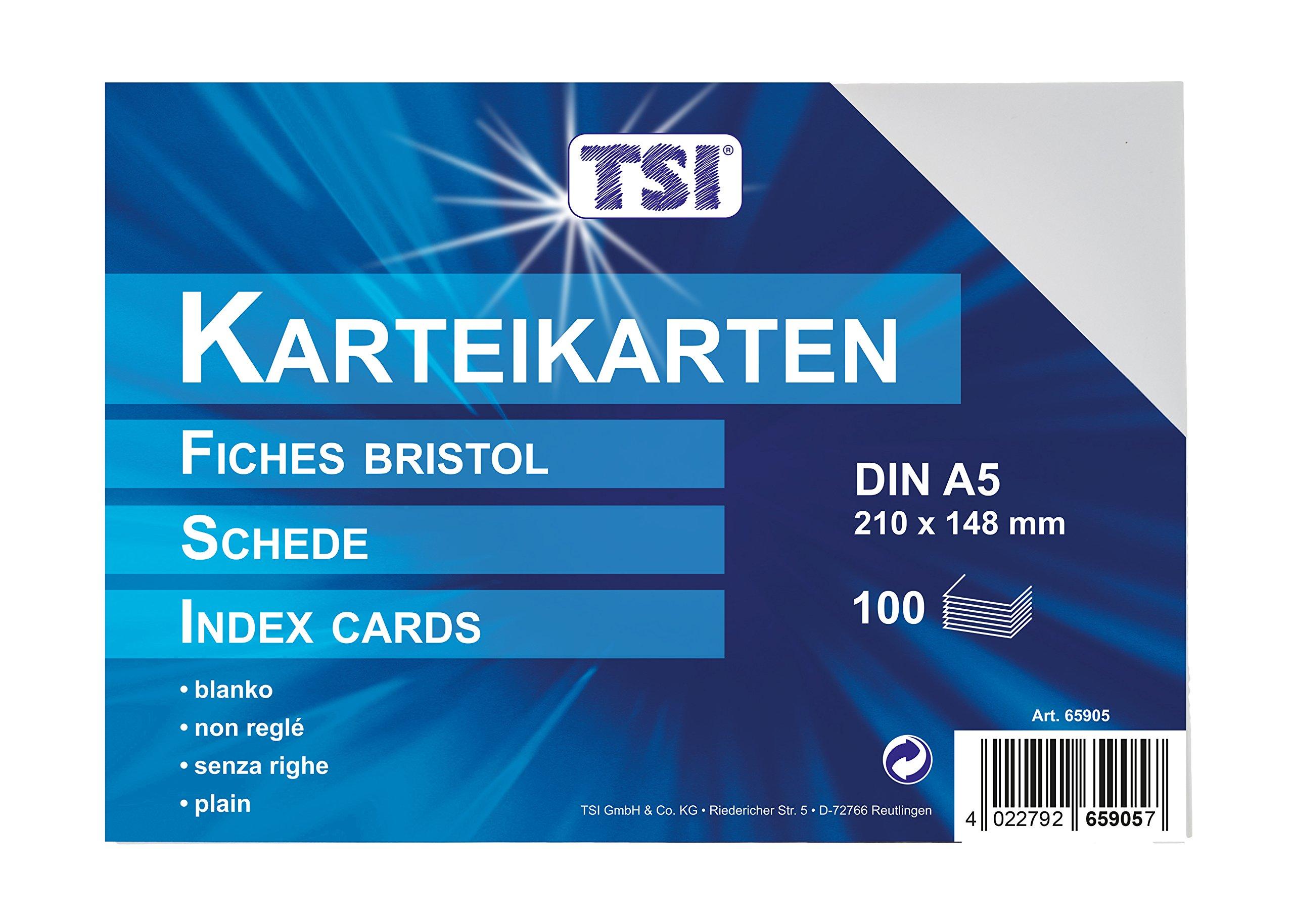 TSI - Tarjetas de cartulina (DIN A5, 100 unidades, en blanco),