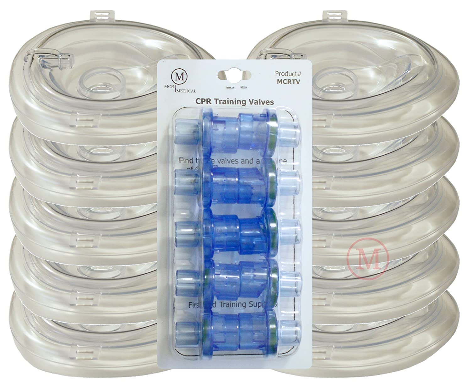 MCR Medical Supply MCRTM-AC PVC Training CPR Pocket Resuscitator Face Masks and Valves, Adult Collapsible (Pack of 10)