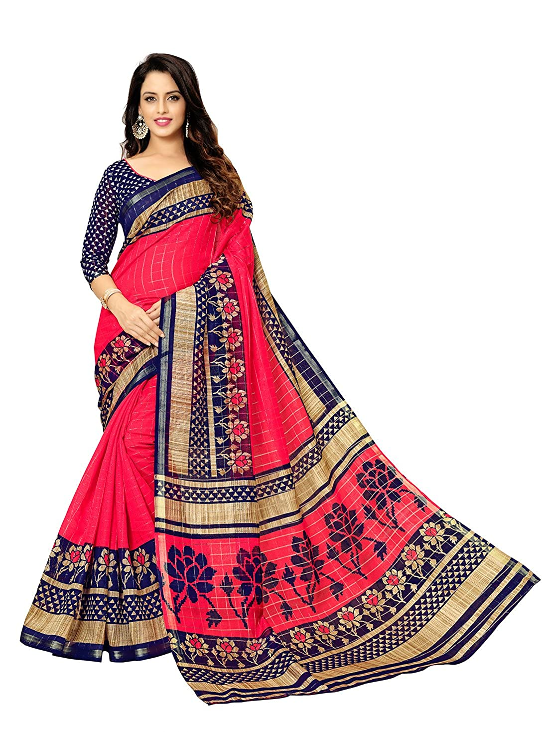 Glory Sarees Cotton Saree with Blouse Piece (gloryart005_Red