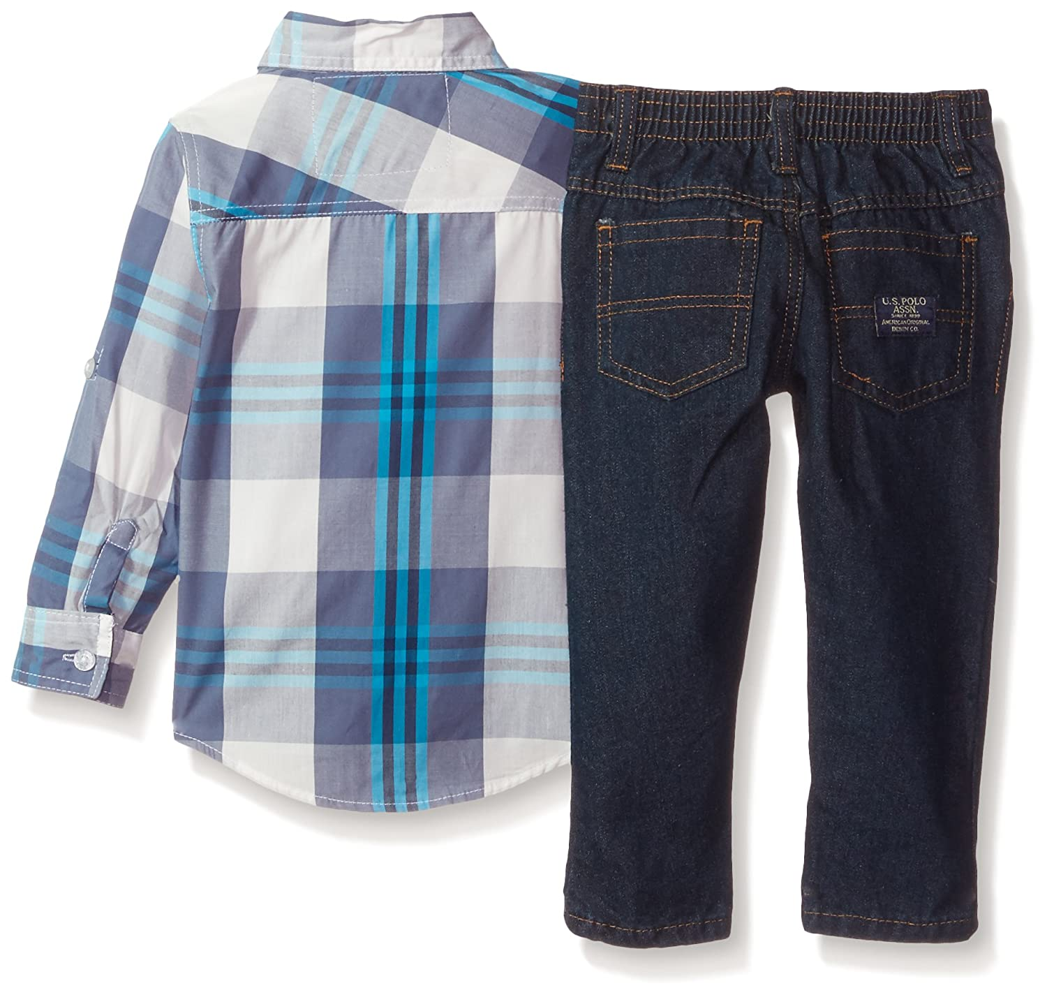 Polo Assn Boys Long Sleeve T-Shirt and Pant Set Multi Plaid 2T P406740M1 U.S